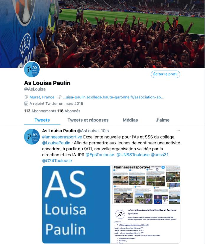 Compte Twitter de l'AS Louisa Paulin